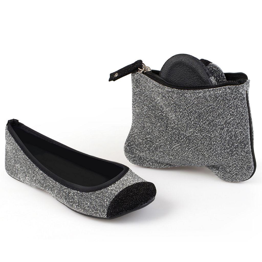 Sidekicks Women's Foldable Glitter Ballet Flats