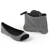 Sidekicks Women's Foldable Glitter Ballet Flats