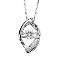 Floating DiamonLuxe 5/8 Carat T.W. Simulated Diamond Sterling Silver Marquise Pendant Necklace