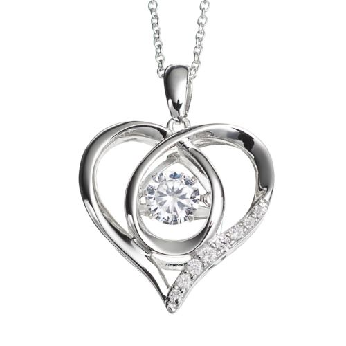 Floating DiamonLuxe 3/4 Carat T.W. Simulated Diamond Sterling Silver Heart Pendant Necklace