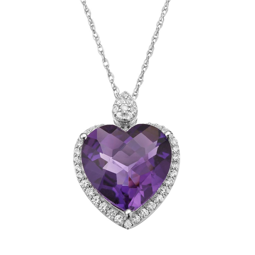 Lab-Created Amethyst and Lab-Created White Sapphire Sterling Silver Heart Halo Pendant Necklace and Chocolate Set