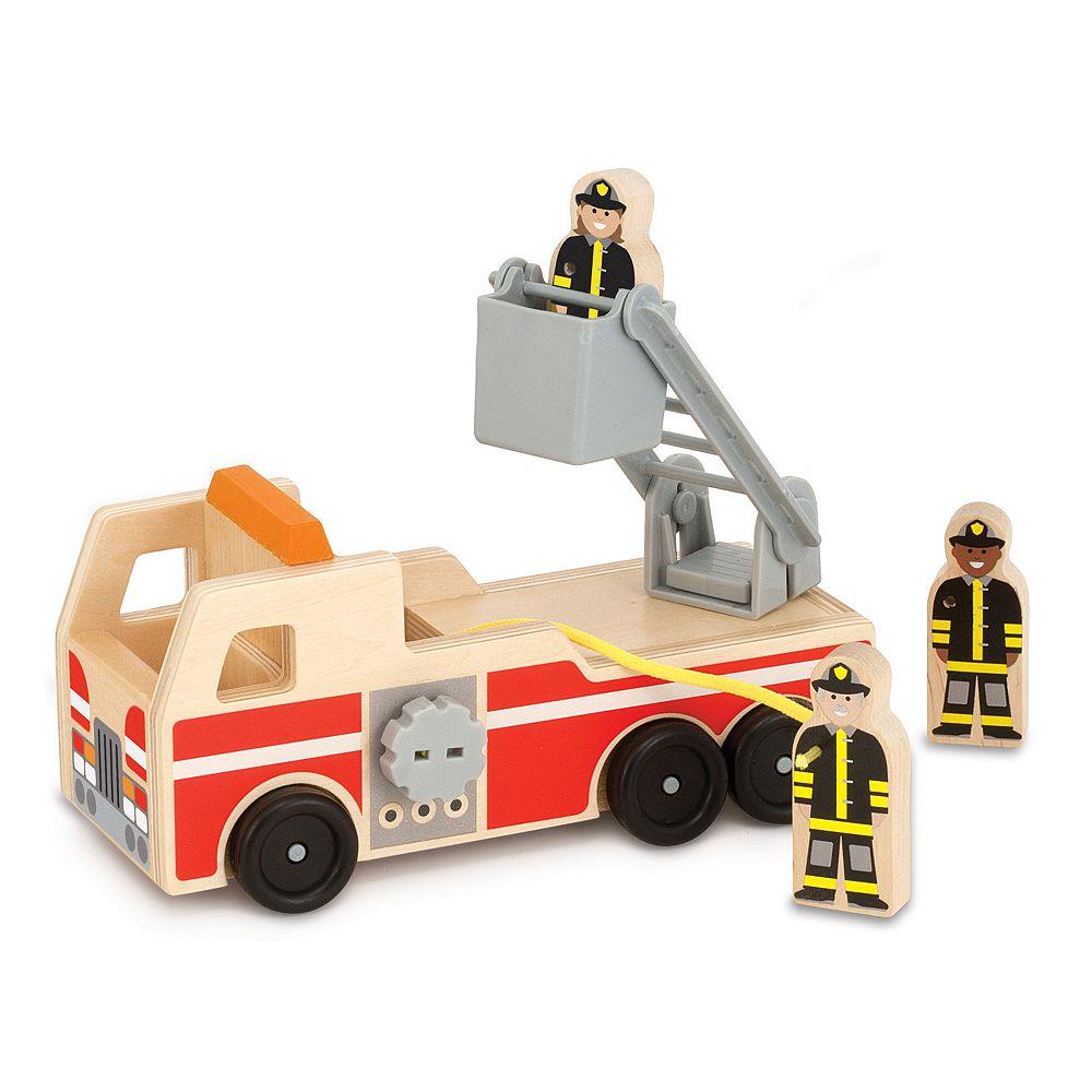 Melissa & Doug Wooden Fire Truck Play Set
