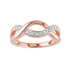 1/10 Carat T.W. Diamond Pink Rhodium-Plated Sterling Silver Infinity Ring