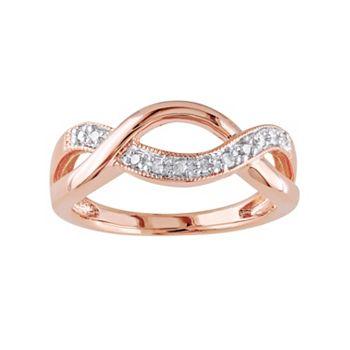 Stella Grace 1/10 Carat T.W. Diamond Pink Rhodium-Plated Sterling Silver Infinity Ring