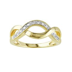 1/10 Carat T.W. Diamond Yellow Rhodium-Plated Sterling Silver Infinity Ring