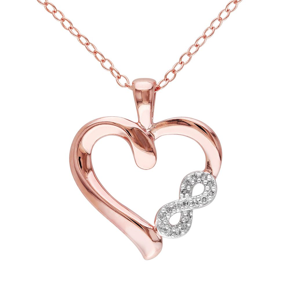 Stella Grace Diamond Accent Pink Rhodium-Plated Sterling Silver Heart Infinity Pendant Necklace