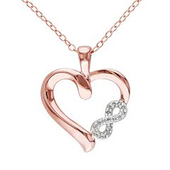Diamond Accent Pink Rhodium-Plated Sterling Silver Heart Infinity Pendant Necklace