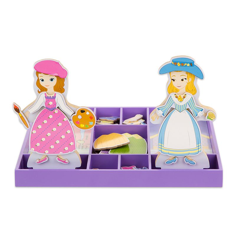 Disney Sofia the First and Princess Amber Wooden Magnetic Dress-Up Dolls by Melissa and Doug, Multicolor