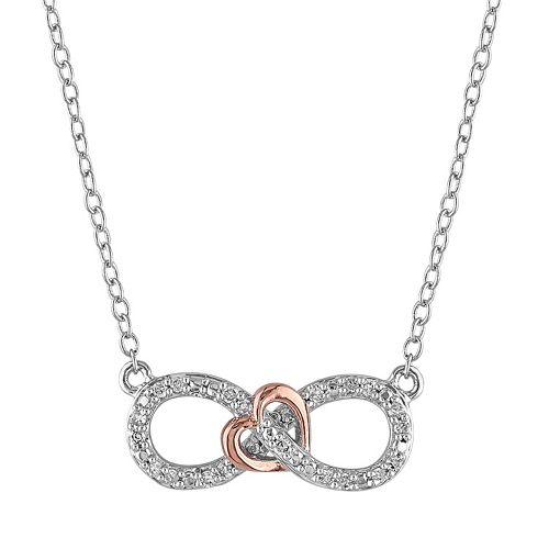 Stella Grace 1/10 Carat T.W. Diamond Two Tone Sterling Silver Infinity Heart Necklace