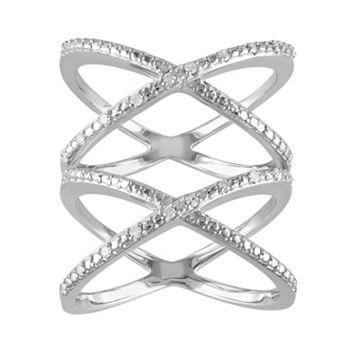1/10 Carat T.W. Diamond Sterling Silver Double X Ring