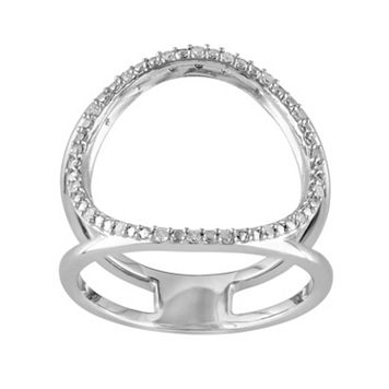 1/10 Carat T.W. Diamond Sterling Silver Circle Ring
