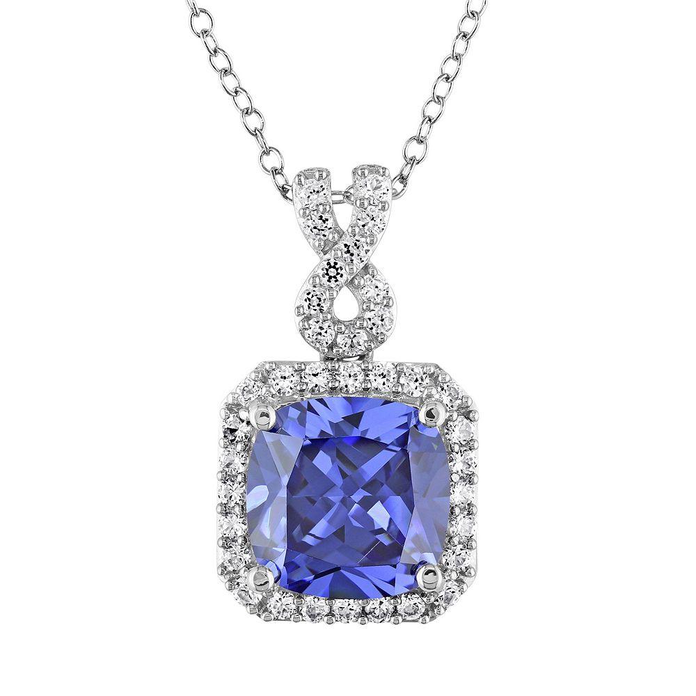 Stella Grace Lab-Created Tanzanite and Lab-Created White Sapphire Sterling Silver Square Halo Pendant Necklace