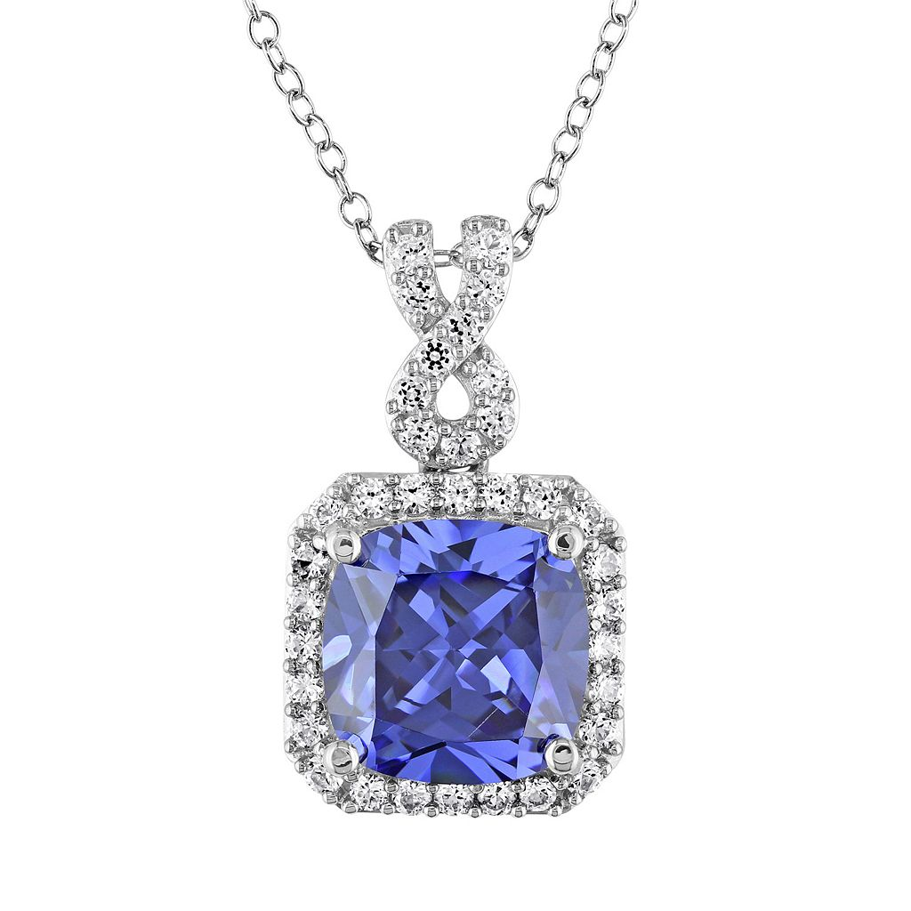 Lab-Created Tanzanite & Lab-Created White Sapphire Sterling Silver Square Halo Pendant Necklace