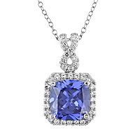 Lab-Created Tanzanite & Lab-Created White Sapphire Sterling Silver Square Halo Pendant Necklace