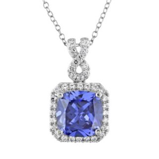 Lab-Created Tanzanite and Lab-Created White Sapphire Sterling Silver Square Halo Pendant Necklace