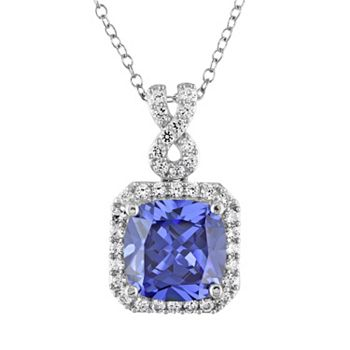 Stella Grace Lab-Created Tanzanite and Lab-Created White Sapphire Sterling Silver Square Halo Pendant Necklace