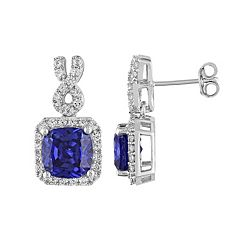 Lab-Created Tanzanite & Lab-Created White Sapphire Sterling Silver Square Halo Drop Earrings