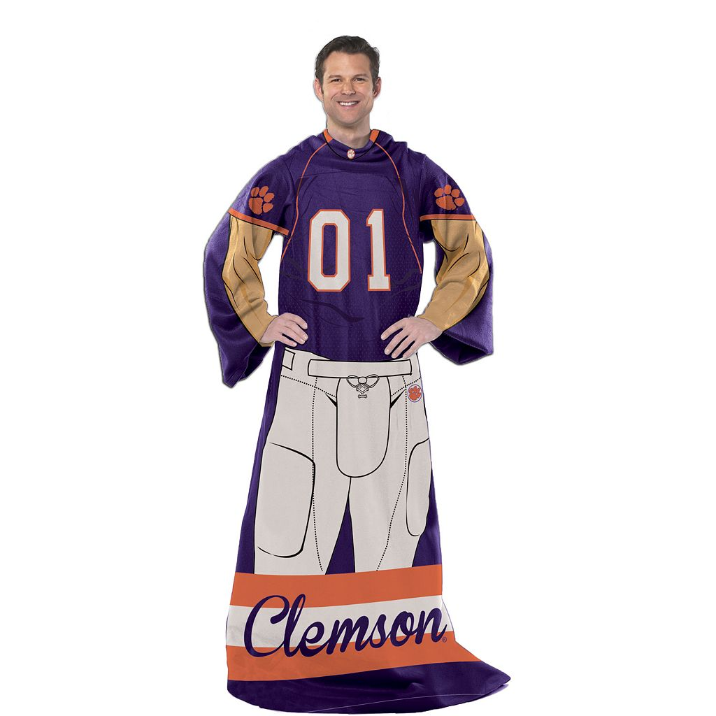 Clemson Tigers Uniform Comfy Throw Blanket with Sleeves by Northwest