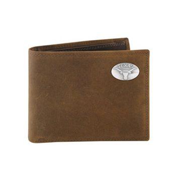Zep-Pro Texas Longhorns Concho Crazy Horse Leather Bifold Wallet