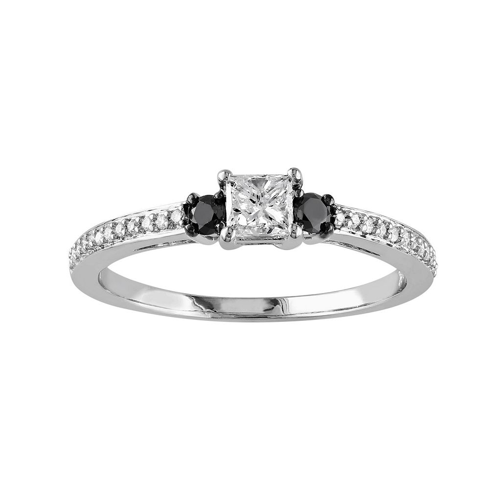 1/2 Carat T.W. Black & White Diamond 10k White Gold Ring