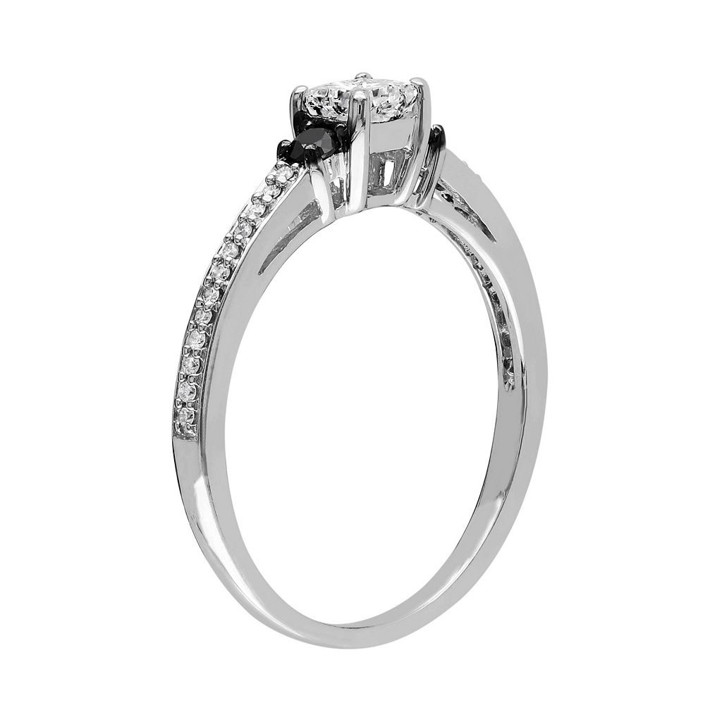 1/2 Carat T.W. Black and White Diamond 10k White Gold Ring
