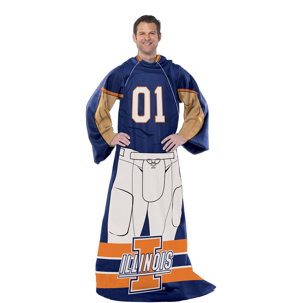 Illinois Fighting Illini Uniform Comfy Throw Blanket with Sleeves by Northwest
