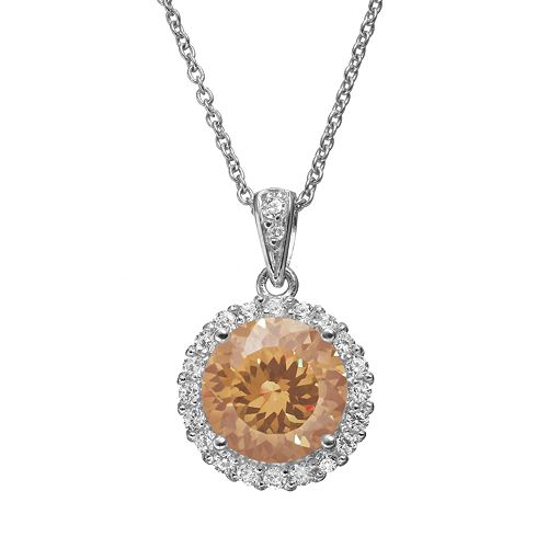 Sophie Miller Simulated Morganite & Cubic Zirconia Sterling Silver Halo Pendant Necklace