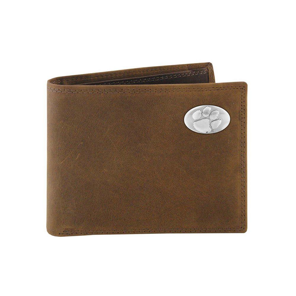 Zep-Pro Clemson Tigers Concho Crazy Horse Leather Bifold Wallet