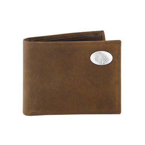 Zep-Pro Louisville Cardinals Concho Crazy Horse Leather Bifold Wallet