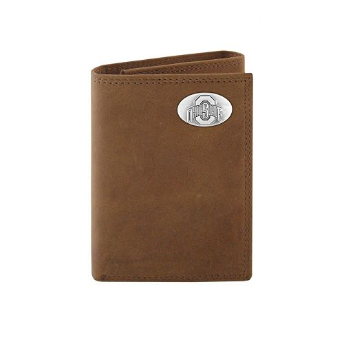 Zep-Pro Ohio State Buckeyes Concho Crazy Horse Leather Trifold Wallet