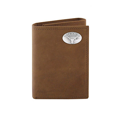 Zep-Pro Texas Longhorns Concho Crazy Horse Leather Trifold Wallet