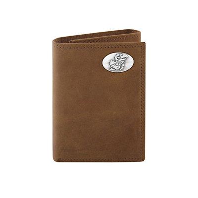 Zep-Pro Kansas Jayhawks Concho Crazy Horse Leather Trifold Wallet