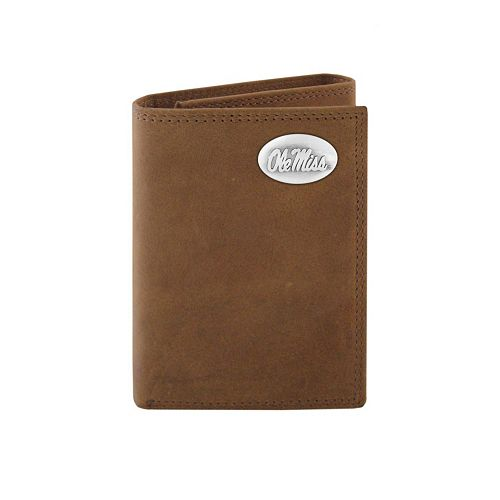 Zep-Pro Ole Miss Rebels Concho Crazy Horse Leather Trifold Wallet