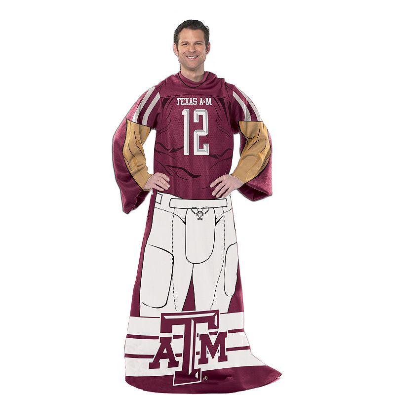 Texas A&M Aggies Uniform Comfy Throw Blanket with Sleeves by Northwest (Multicolor)