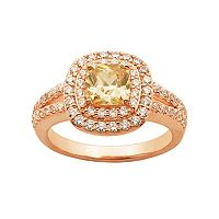 Champagne & White Cubic Zirconia 18k Rose Gold Over Silver Tiered Halo Ring