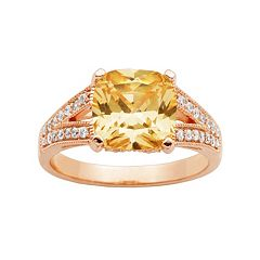Champagne & White Cubic Zirconia 18k Rose Gold Over Silver Ring