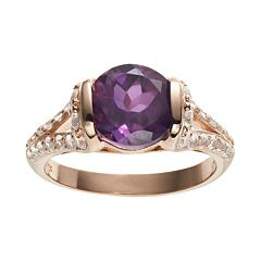 African Amethyst & Lab-Created White Sapphire 18k Rose Gold Over Silver Ring