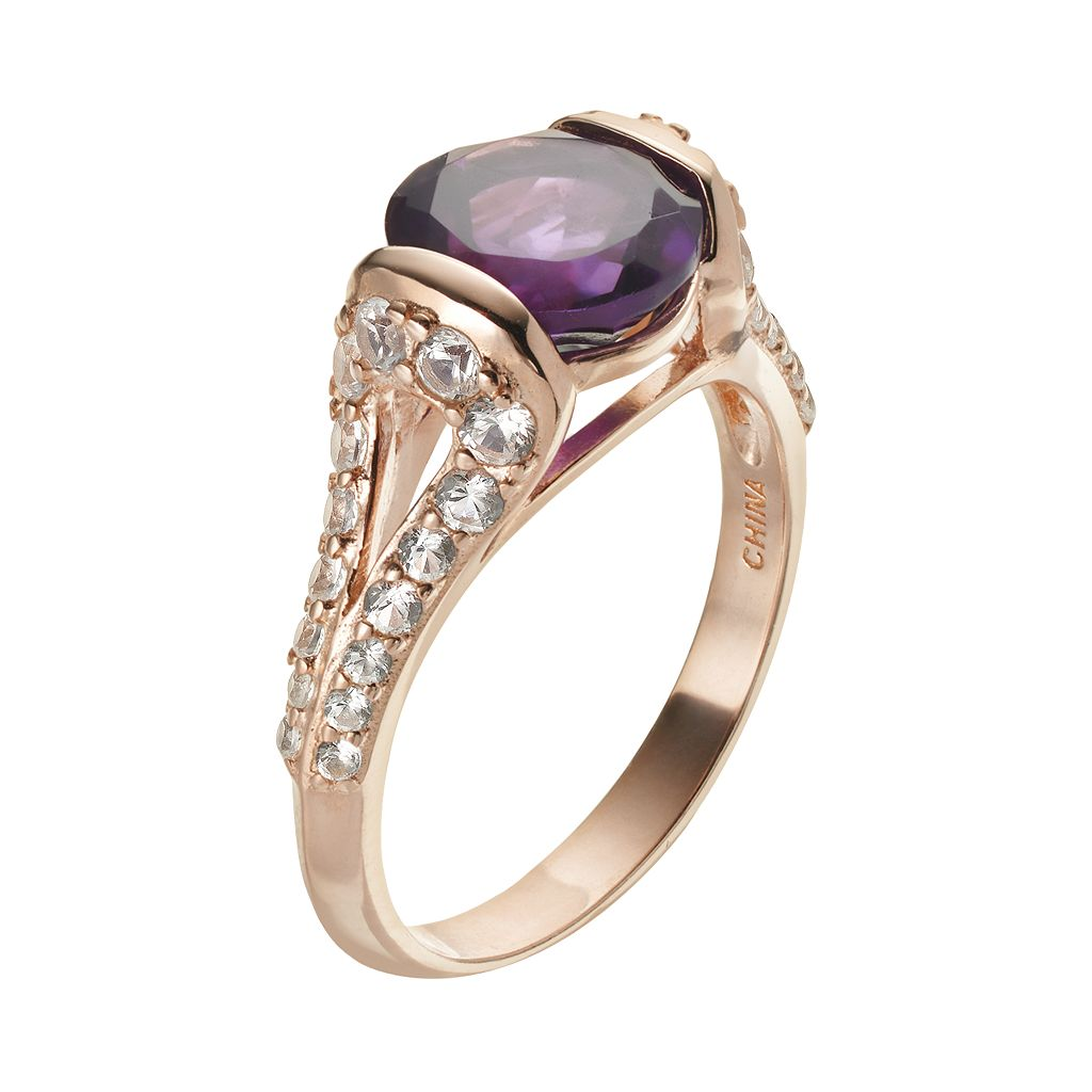 African Amethyst and Lab-Created White Sapphire 18k Rose Gold Over Silver Ring