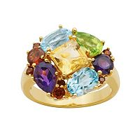 18k Gold Over Silver Gemstone Cluster Ring