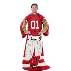 Wisconsin Badgers Uniform Comfy Throw Blanket with Sleeves by Northwest