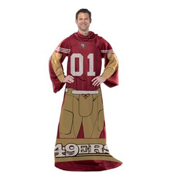 San Francisco 49ers Uniform Comfy Throw Blanket with Sleeves by Northwest