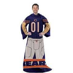 Chicago Bears Uniform Comfy Throw Blanket with Sleeves by Northwest