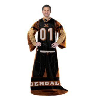Cincinnati Bengals Uniform Comfy Throw Blanket with Sleeves by Northwest