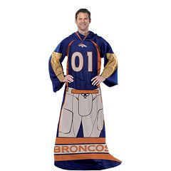 Denver Broncos Uniform Comfy Throw Blanket with Sleeves by Northwest