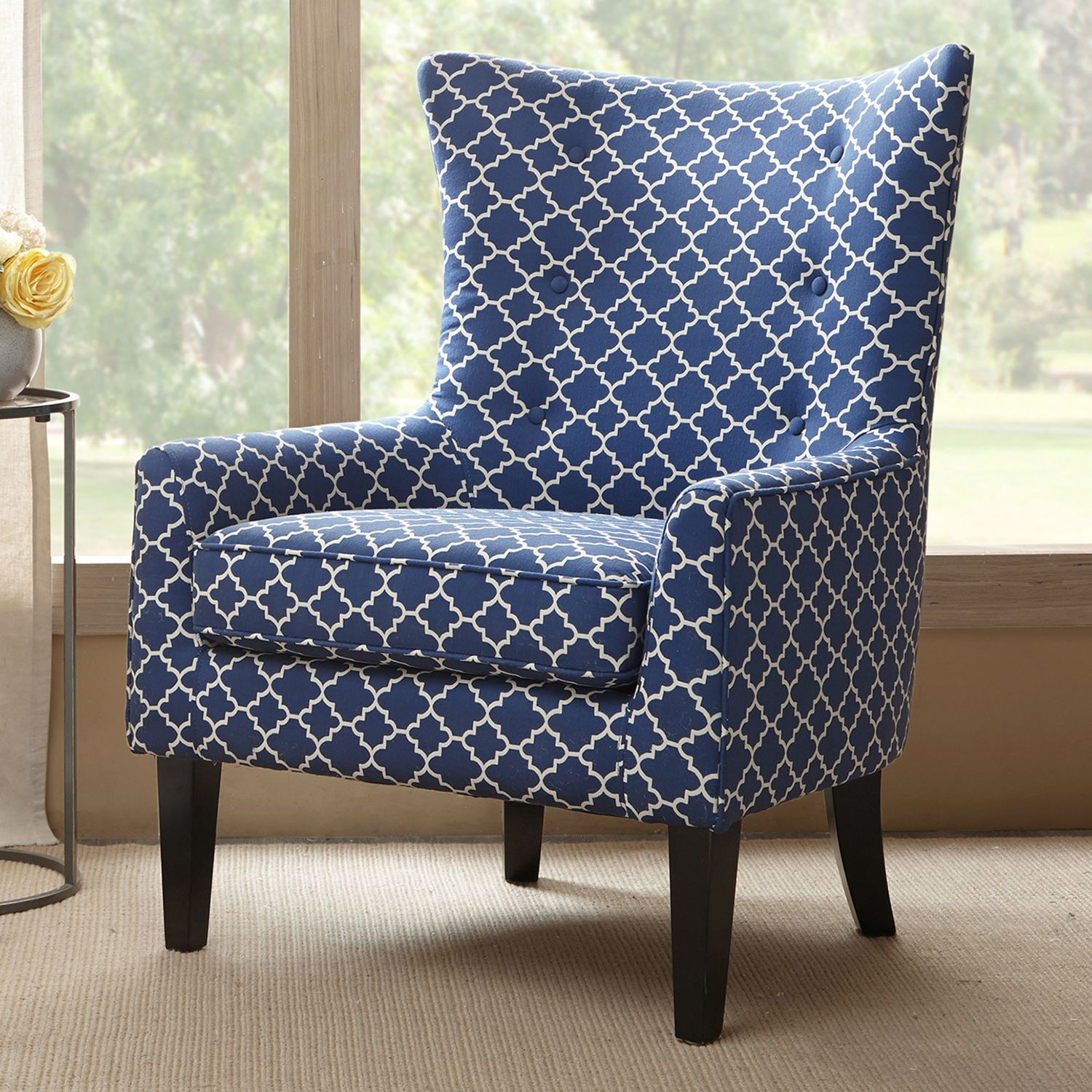 Superieur Madison Park Carissa Accent Chair. Blue Yellow Gray Pattern Navy Pattern