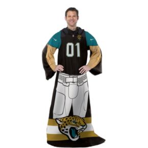 Jacksonville Jaguars Uniform Comfy Throw Blanket with Sleeves by Northwest
