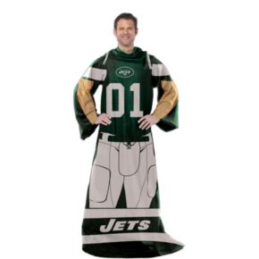 New York Jets Uniform Comfy Throw Blanket with Sleeves by Northwest