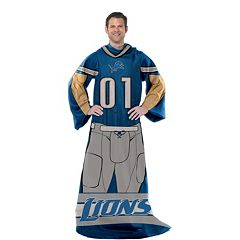 Detroit Lions Uniform Comfy Throw Blanket with Sleeves by Northwest