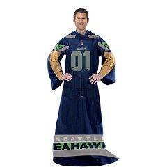 Seattle Seahawks Uniform Comfy Throw Blanket with Sleeves by Northwest