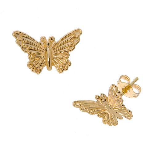 14K Gold Diamond-Cut Butterfly Earrings